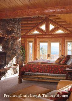 PrecisionCraft Log Homes' Woodhaven Design   Log Home Master Bedroom   McCall Idaho by PrecisionCraft Log Homes & Timber Frame, via Flickr