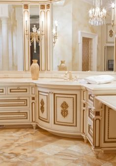 Bathroom: love the counter space, and Gold accent!