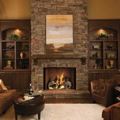 Living Room - Traditional white custom built in bookcases & beautiful stone fireplace with custom built surround. Description from pinterest.com. I searched for this on bing.com/images