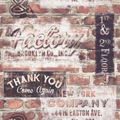 Portfolio New York Distressed Sign Graffiti Red Brick Wallpaper by Rasch 238600: Details and purchase options from Lancashire Wallpaper and Paint