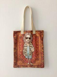 etsy art The Dude cartoon the Big Lebowski Tote Bag