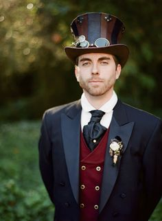 Steam Punk Fairie Wedding - The groom.  Goodness I wish men dressed like this more often. He just looks so handsome and dapper!