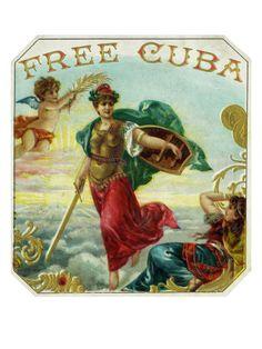 Free Cuba Brand Cigar Box Label