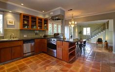 Kitchen with saltillo floor