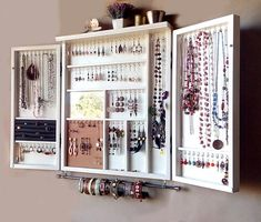 Jewelry cabinet. Large earrings closet with shelf. Ivory WHITE jewelry storage. Wooden wall mounted earring organizer. earrings storage.