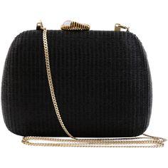 SERPUI Lolita Black Minaudière With Shell Clasp ($335) ❤ liked on Polyvore featuring bags, handbags, clutches, bolsas, bolsos, chain handbags, man bag, clasp handbag, woven purses and shell purse