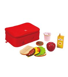 The yummy lunch box set comes complete with juice, yogurt, apple, bread and delightful fillings to make a super sandwich. Ideal for role play and teaching child Yummy Lunch Box, Lunch Box Set, Lunch Box Recipes, Play Kitchen Food, Play Food Set, Pretend Food, Pretend Play, Hape Toys, Best Educational Toys