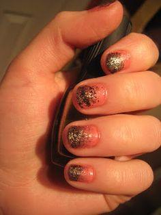 My Nail Creation! glitter stipple nails.