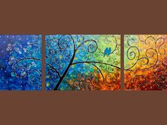 """52x18 Original Modern Abstract Heavy Texture Impasto Canvas Painting Landscape Branches Love Birds Wall Decor """"Tree of Life"""" by QIQIGALLY"""