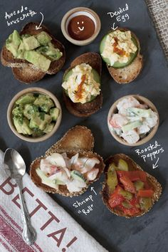 tapas- Here's their recipe for Deviled Egg Bruschetta Antipasto, Tapas Party, Party Snacks, Spanish Tapas, Spanish Appetizers, Food For Thought, Love Food, Appetizer Recipes, The Best