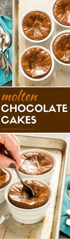 Do not save these warm Molten Chocolate Cakes for a special occasion. I bet you have all the ingredients you need in your pantry right now to make these for dinner tonight! ~ http://www.garnishwithlemon.com