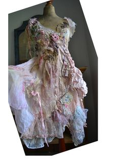 Wonderful Unique Art To Wear Pale Pink Dress PEARLY CINDERELLA  Boudoir Doll Fairy Wedding Romantic Old Doilies Antoinette Boho Tattered by Paulina722 on Etsy https://www.etsy.com/listing/528147475/wonderful-unique-art-to-wear-pale-pink