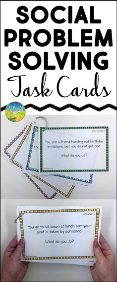 Social skills problem solving task cards for small groups, resource, morning meeting, and more.