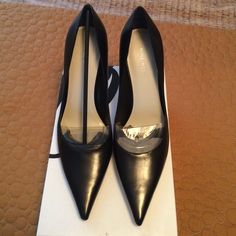 NWT black Nine West pumps! Literally brand new s d in the box! These won't last long. Beautiful, soft black leather and SO comfy! Perfect work or going out pump! Nine West Shoes Heels