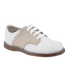 White & Ecru Cheer Leather Oxford by FootMates #zulily #zulilyfinds