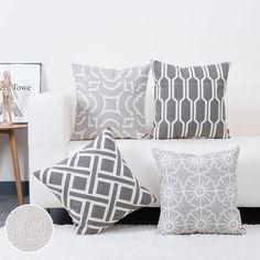 baibu Cotton Decor Sofa Throw Pillow Case Embroidery Grey Cushion Cover for Bed,Chair,Sofa Set of 4 Cushions For Grey Sofa, Grey Throw Pillows, Throw Pillow Cases, Cushions On Sofa, Couch Sofa, Cushion Pillow, Couches, Grey Cushion Covers, Sofa Bed Home