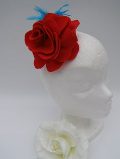 Red Felt Rose with Light Blue Feathers on Crocodile by SiogDesign, €12.50