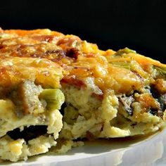 Breakfast casserole with bacon, Cheddar cheese, and potatoes will quickly become a favorite in your household on the weekends.  Allrecipes.com