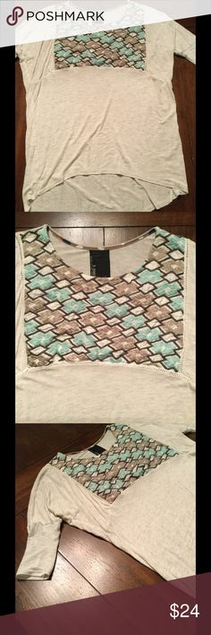 Anthropologie Tee Embroidered tee by Dolan from Anthropologie. Sleeves are elbow length. Preowned condition. Some piling on embroidery. Super soft tee. Perfect to throw on for cool Fall days😉 Anthropologie Tops