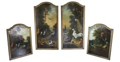 """Beautiful and rare set of four early Italian oil paintings on relined canvas. Each depicting different scenes with birds. Circa 1750. Dimensions for smaller pair are 48""""H x 35.5""""W each/larger pair 35.5 L x 2""""W x 72"""" H- $32,999.00 Caroline Faison Antiques"""