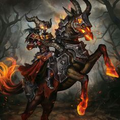 Where most heroes see death, Warlocks see only opportunity Warlock Class Mount by community artist Anda-Laura Popa World Of Warcraft, Warcraft Art, Fantasy World, Dark Fantasy, Fantasy Art, My Demons, Angels And Demons, Fantasy Creatures, Mythical Creatures