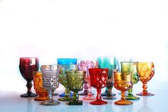 Rainbow Colored Goblets. Otis + Pearl Vintage Rentals.