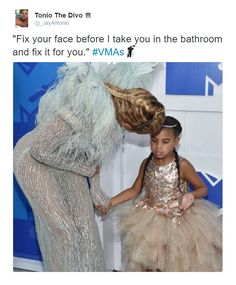 This damn picture done turned into a meme. Beyonce bent ALL THE WAY over to straighten that lil Ivy out or somethin