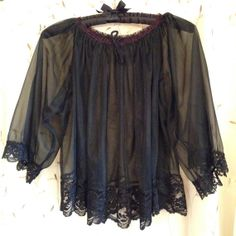 Sheer black bed jacket lingerie lace by SerendipityCircus on Etsy, $12.00