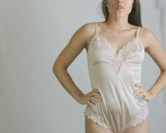 d19b19cc0428e 70s Dusty Pink Teddy // Vintage Sexy Lingerie Romper with Lace Valentines  Day // Size: M