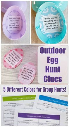 Printable clues are color-coded and can be used for one person or up to 5 different people - great idea for group or family Egg Hunt! Fun idea for Easter Morning for preschool, older kids, tweens & teens! Making Easter Eggs, Easter Egg Crafts, Easter Egg Hunt Clues, Easter Scavenger Hunt, Easter Egg Coloring Pages, Easter Egg Designs, Easter Egg Hunt Ideas, Easter Activities, Preschool Crafts