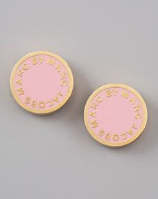 Love these! Marc By Marc Jacobs Enamel Logo Disc Stud Earrings