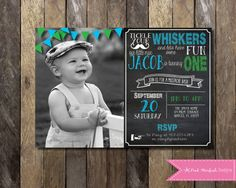 Printable Birthday Party Invitation, Chalkboard Birthday Party Invitation, Chalkboard Invite, First Birthday, Little Man, Mustache, Digital Printable Invitation, Etsy, Pink Starfish Designs