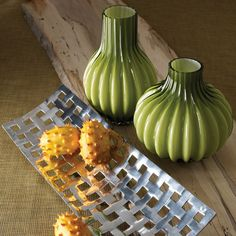 Lazy Susan Moss Optical Vases