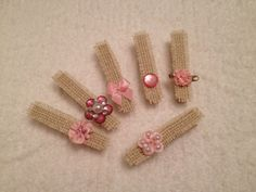 Shabby Chic Clothespins, White Burlap, Christmas Ornament, Rustic Chic by StuffDepot