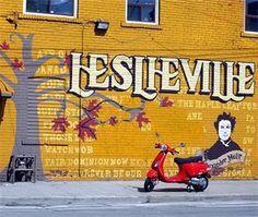 Leslieville neighbourhood Vintage and eclectic boutiques Toronto Neighbourhoods, Neighborhood Watch, Hidden Treasures, Over The Rainbow, Hanging Out, Niagara Falls, The Neighbourhood, Street Art, Canadian Recipes