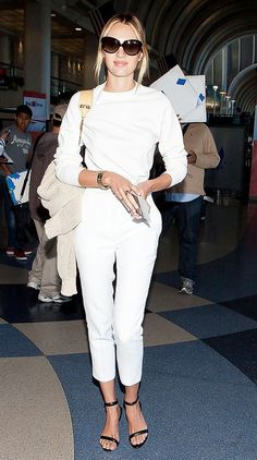 Candice Swanepoel white pants and white top