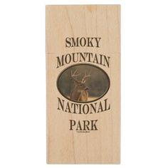 Smoky Mountain National Park Whitetail Buck V Wood USB Flash Drive