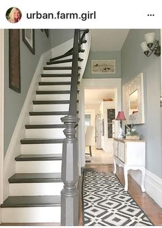 Stairs painted diy (Stairs ideas) Tags: How to Paint Stairs, Stairs painted art, painted stairs ideas, painted stairs ideas staircase makeover Stairs+painted+diy+staircase+makeover Painted Staircases, Painted Stairs, Bannister Ideas Painted, Stair Bannister Ideas, Painted Stair Railings, Stair Banister, Staircase Ideas, Victorian Hallway, Hallway Colours
