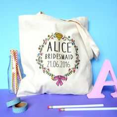 Personalised Wedding or Hen Party Tote Bag. by fableandblack
