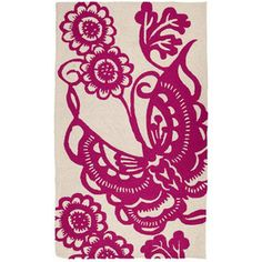 Trina Turk Rug Hook Butterfly Pink