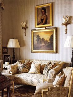 Downton style: in a quiet sitting room. Interior Designer: Walker Simmons.