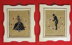 Vintage Framed Silhouette Needlepoint Art Man Southern Belle Woman Pair 1956  #Unbranded