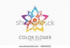 flower symbol logo. Color flower design. geometry logo