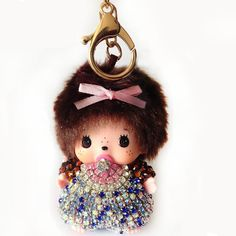 Handmade Cute Monchichi Keychains Car Pendant crystal Rhinestone Key Chain For…
