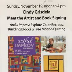 """Mark your calendars for my """"Meet the Artist"""" event at Fiberworks Studio 14 this Sunday November 19 at the Torpedo Factory in Alexandria, VA. From Noon - 4 pm I'll sign copies of my Artful Improv book and give a short talk about my work and my inspiration. Light refreshments. Free admission. I hope you can stop by! #artfulimprov #booksigning #fiberworkstudio14 #torpedofactory #artreception #artquilt #fiberarts #alexandriava"""