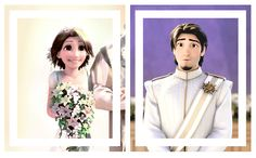 Rapunzel's face: she is so excited.. Eugene's: Whoa....she's so beautiful..