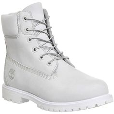 Timberland Premium 6 Boots ($235) ❤ liked on Polyvore featuring shoes, boots, ankle booties, ankle boots, white mono nubuck, women, water proof boots, short boots, white booties and white ankle boots