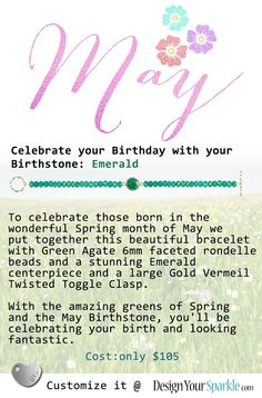 Do you celebrate your birthday in May? If yes, we have something really nice in store for you! If not you can still rock these gorgeous spring colors. Get your beautiful green emerald bracelet today!  #may #maybirthday #birthday #gift #emerald #green # agate #greenagate #gold #goldclasp #toggleclasp #spring #celebrate #bracelet #handmade #handcraftedjewelry #beadbracelet #fashion #fashionjewelry #bohochick #designyourown #diy #standout