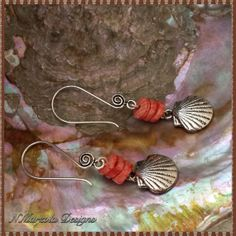 Coral Heishi And Silver Shell Dangle Earrings by nmarzoladesigns, $12.00