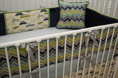 chevron nursery bedding | Grey Crib Bedding / Grey, Navy, Aqua, Green Chevron & Car print crib ..., if we ever have another baby and its a boy